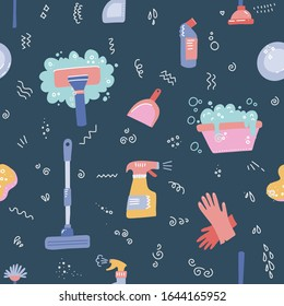 Spring cleaning. Seamless pattern with cleaning tools. Flat hand drawn vector objects. Clean home