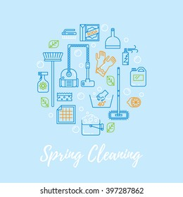 Spring cleaning vector concept. Modern clean linear style.  Cleaning equipment and  appliance design elements. For web, banners, blogs, poster.