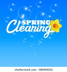 Spring Cleaning. Water bubbles background.