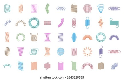 Spring coils. Metal spiral spring, car motor coil swirls silhouette, wire springs, metallic flexible coils and line steel curved spiral isolated vector icons. color steel helix, suspension symbols