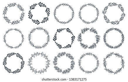 Spring collection of elegant floral wreaths. Floral round frames of branches and leaves. Vector illustration