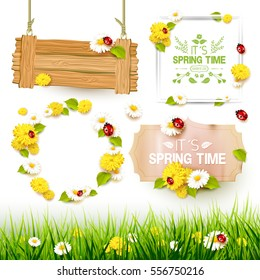 Spring collection of labels, signs and borders