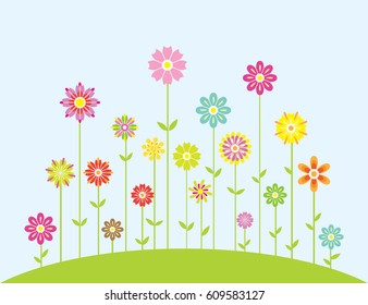 Spring Colorful Flowers Growing Illustration On Blue Background