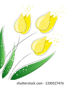 Spring colorful flowers growing. Vector illustration - Wektor