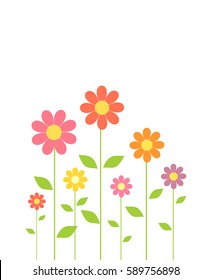 Spring colorful flowers growing. Vector illustration