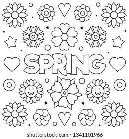 Spring. Coloring page. Vector illustration of flowers.
