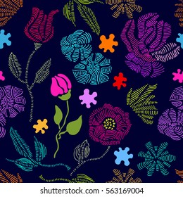 Spring colors. Floral seamless vector pattern with embroidery wildflowers. Stylized hand drawn elements. 1950s-1960s motifs. Retro textile design collection. Colorful on dark.