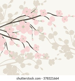 Spring is coming background tree with blossom flowers. Vector spring background. cherry blossoms on tree branches. Cream color