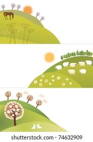Spring corners. Corner-parts of nature representing three spring months
