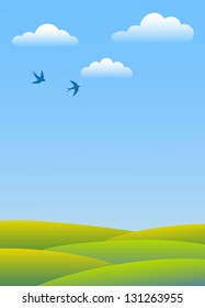 Spring day. Swallows fly in clouds over green fields. Vector background.