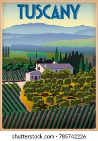 Spring day in Tuscany, Italy. Handmade drawing vector illustration. Poster in the Art Deco style
