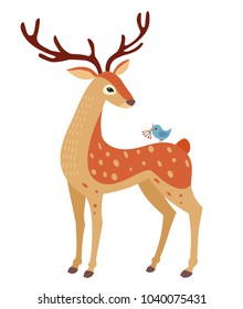 Spring deer isolated on white background. Vector illustration.