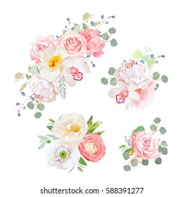 Spring delicate bouquets vector design objects. Peachy and pink roses, peony, carnation, orchid, white poppy, ranunculus flowers, eucalyptus. All elements are isolated and editable