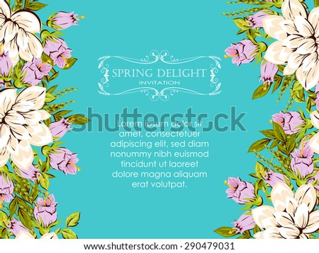 Spring Delight Collection Beautiful Invitation Card Stock Vector