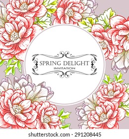 Spring delight collection. Delicate invitation card of beautiful flowers. Easy to edit. Perfect for invitations or announcements.