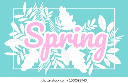 Spring design banner as logo Cards for spring with white frames and herbs Vector flower decoration