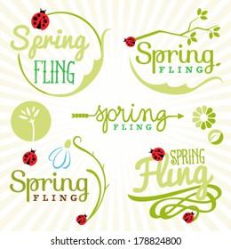 Spring Design Elements. Labels and Badges