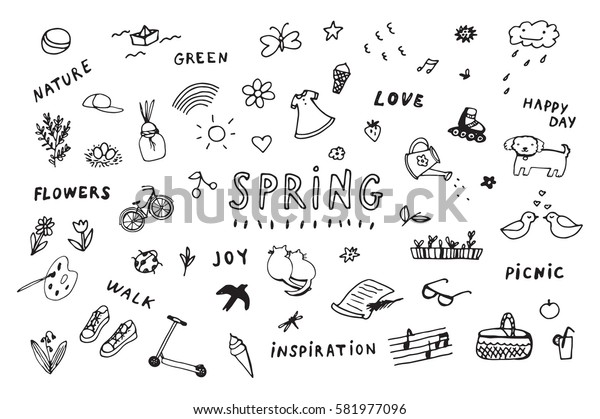 spring doodle objects set