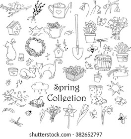 Spring doodles set. Hand drawn flowers, cats, birds, eggs, instruments, boots, nests, butterflies. Doodle collection.
