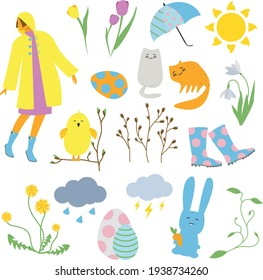 Spring Easter concept design, bunnies, eggs, flowers and cats in bright and sunny colors. Flat cute vector illustration set for stickers, greeting cards