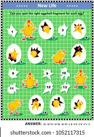 Spring or Easter themed visual logic puzzle or picture riddle: Match the holes in the eggs to the eggshell fragments. Answer included.