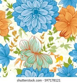 Spring elegance floral line-art seamless pattern in vintage style. Beautiful flower vector illustration. Romantic design for textile