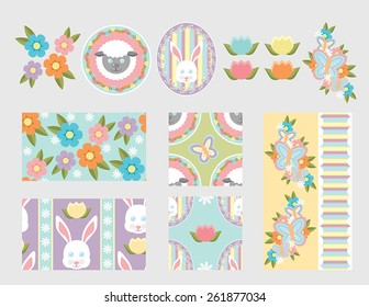 Spring elements and 5 seamless patterns. Features flowers, sheep, rabbits, and butterflies. Light grey background used for contrast so white is visible.