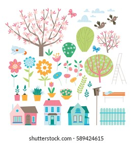 Spring elements collection. Set in vector.