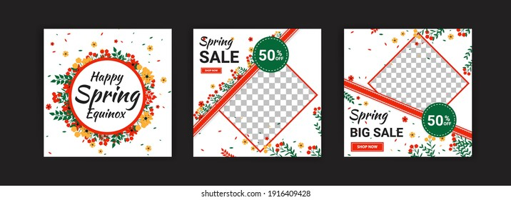 Spring equinox. Spring sale. Social media post template for digital marketing and sales promotion on spring holidays.