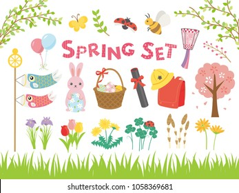 Spring event in Japanese vector illustration set.