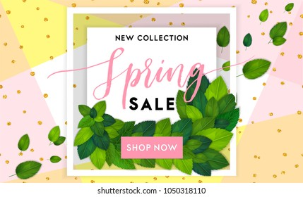 Spring fashion sale flyer template with lettering. Bright fresh green leaves concept. Poster, card, label, banner design. Bright and stylish geometrical background. Vector illustration EPS10