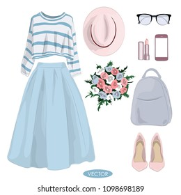 Spring fashion set. Stylish and trendy casual outfit for girl. Shirt, blue midi skirt, bouquet and  others accessories - Vector Illustration