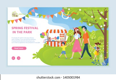 Spring festival in park vector, family walking together mother and father with child on nature, tent with plush items on sale, holiday celebration. Website or webpage template, landing page flat style