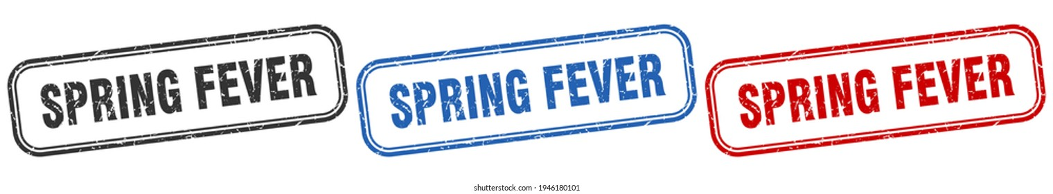 spring fever square isolated sign set. spring fever stamp