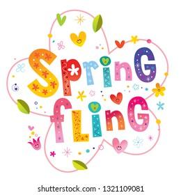Spring fling - romantic love lettering design