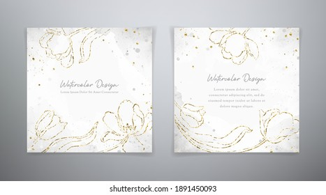 Spring floral cards. Set vector watercolor templates in blue and golden colors. Watercolor design with golden tulps for flyer, gift card, invitation card, banner