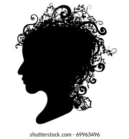 Spring Floral head silhouette