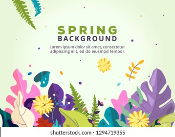 Spring floral illustration banner. template International Women's day background. 8 March. Happy Women's Day card. Spring flowers, fantasy forest and exotic leaves.