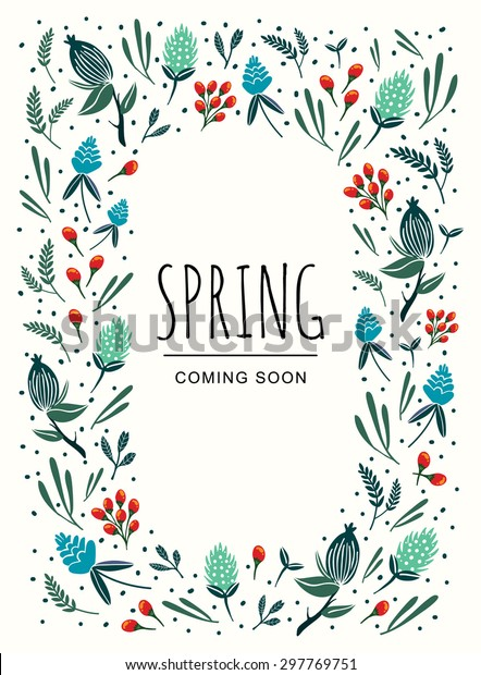 Spring Floral Invitation Template Abstract Colorful Stock Vector