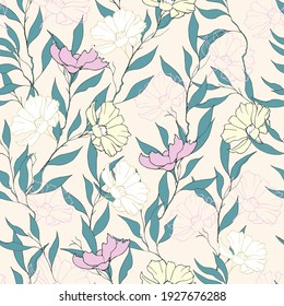 Spring floral pattern with daisies in pastel colors. Vector seamless wildflowers print hand drawn.