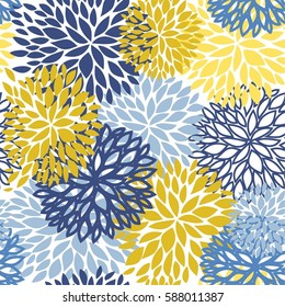 Spring floral seamless pattern. Blue, yellow and navy Chrysanthemum flowers background for web, print, textile, wallpaper design.