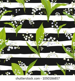 Spring Floral Seamless Pattern with Lily Valley Flowers. Springtime Blooming Background for Fabric, Textile, Decor, Wallpaper. Vector illustration