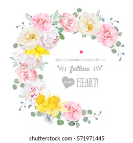 Spring floral vector round frame with peony, rose, camellia, daffodil, eucalyptus, brunia on white. Pink and white flowers. Half moon shape bouquet. All elements are isolated and editable