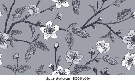 Spring  floral vintage seamless pattern with Japanese cherry. Vector. For design textiles, paper, wallpaper. Black and white