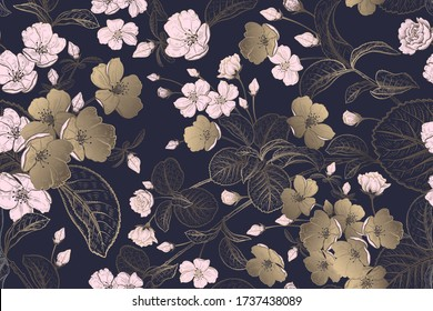 Spring floral vintage seamless pattern. Blooming Japanese cherry. Tree branches and cute bird. Vector illustration. Template for textiles, paper, wallpaper. Pink and gold flowers on black background.