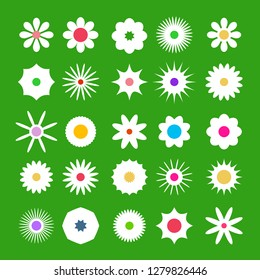 Spring Flover Icons. Vector Flat Design Flowers Set on Green Background.