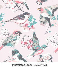 spring flower with bird seamless pattern pink background