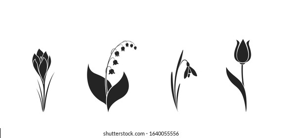 spring flower black silhouette set. crocus, snowdrop, tulip and lily of the valley. floral design element. isolated vector image