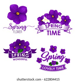 Spring flower bouquet isolated symbol set. Flowers of violet and jasmine with green leaf and ribbon banner. Floral icon for springtime holidays design