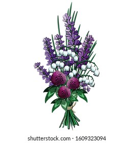 Spring flower bouquet vector illustration. Violet wildflower posy.